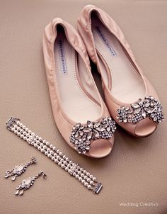 cream pink Vera Wang rhinestone wedding flats, #wedding #shoes