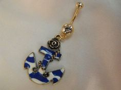 Goldtone Belly Ring Enameled Blue and White Anchor by AGothShop, $12.50