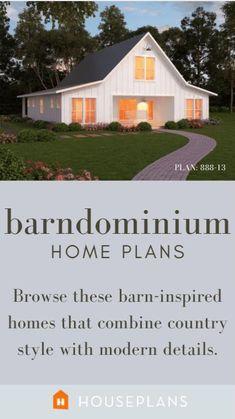 Modern Farmhouse Plans, Country Farmhouse Decor, Farmhouse Chic, Garage Design, House Design, Metal Barn Homes, Barn Plans, Building A New Home, French Country House