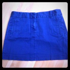 Royal Blue mini skirt Jcrew mini skirt with back and front pockets, belt loops, and front zipper. Cute with thighs and a tank for going out or tights and a blouse for work! Such a great day-night skirt! J. Crew Skirts Mini