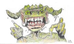 """A monster from """"How to Draw Monsters in Simple Steps"""", (Jim McCarthy)"""