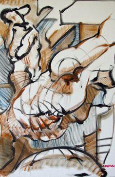 "For Sale: Torsos by Shant  Beudjekian   $100   30""w 40""h   Original Art   http://www.arttwo50.com/buy/art/torsos"