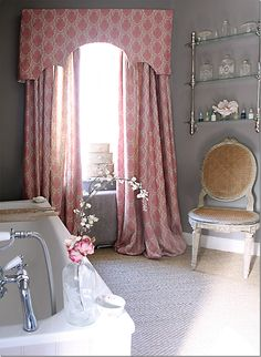 Long Curtains in the bathroom & why not? Kate Forman