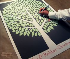 Instead of a Guestbook. Everyone signs a leaf. Frame it at home later.  Love it!