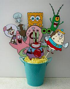 Centerpiece for a birthday party- Spongebob Squarepants characters A Birthday Party, Spongebob Birthday Party, Birthday Party Centerpieces, Birthday Board, Birthday Ideas, Pastel Bob, Boy Fishing, Spongebob Squarepants, Handmade Crafts