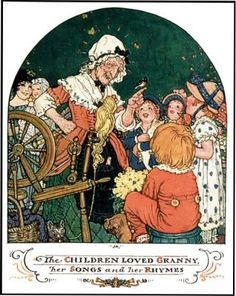 From Granny Goose, Illustrated by John Rae, Joliet: Volland, 1926.  Here the spinning wheel returns to light, having been with the hearth-side spinner in the earliest Mother Goose Fairy Tale books of Perrault.  Her cat has also returned.