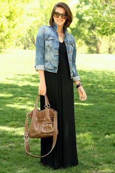 Jean Jacket with black dress