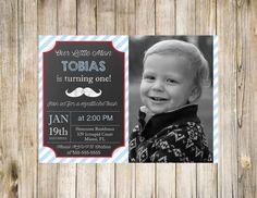 Mustache bash birthday chalkboard photo invitation - 5x7