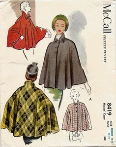 Capes are absolutely not my thing but this makes them seem pretty cool! Vintage Patterns, Vintage Sewing, Sewing Patterns, Vintage Inspired Outfits, Fashion Project, Future Fashion, Vintage Looks, Vintage Style, Fashion History