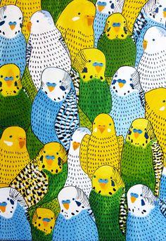 Birds - Johanna Burai gorgeous repeat pattern parakeet birds acrylic painting illustration // blue, yellow and green