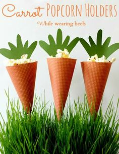 DIY Carrot Popcorn Holders, use for a bunny themed party or for Easter!