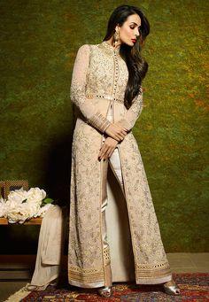 Buy Embroidered Georgette Front Slit Abaya Style Suit in Beige online, work: Embroidered, color: Beige, usage: Wedding, category: Salwar Kameez, fabric: Georgette, price: $149.12, item code: KCH9, gender: women, brand: Utsav