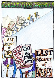 Ferget First Ascents! Toon by Tami Knight #Everest #FA #LastAscents