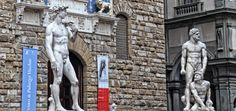 """Firenze - Michelangelos """"David"""" und """"Herkules tötet Cacus"""" von Baccio Bandinelli vor dem Palazzo Vecchio"""