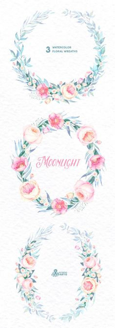 Moonlight: 3 Watercolor Wreaths frames popies by OctopusArtis