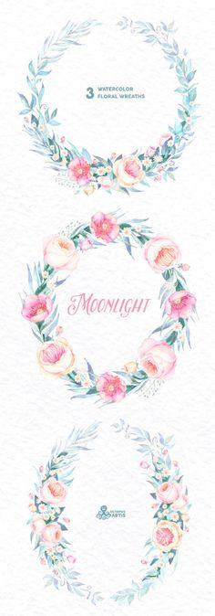 Moonlight: 3 Watercolor Wreaths frames popies by OctopusArtis