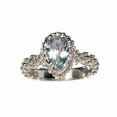 Aquamarine And Platinum Over Sterling Silver Pear Cut Ring Vintage Gift for engagement, wedding, birthstone, gemstone ring,  promise ring