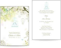 Pretty bird themed wedding invites