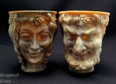 Incolay Face Mugs Satyr and Nymph Vintage 70s