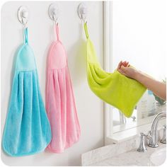 Utility Absorbent Hand Dry Towels Coral Velvet Hand Towel For Kitchen Bathroom Use