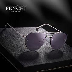 d63e0b2137 Fenchi New Round vintage retro metal rimless sunglasses women brand  designer fashion new driver sunglasses men