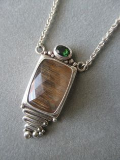One of a Kind Sterling Silver Rutilated Quartz & Tourmaline Pendant - Silver Jewelry Metal Jewelry, Pendant Jewelry, Gemstone Jewelry, Gold Jewellery, Diamond Jewelry, Jewellery Shops, Geek Jewelry, Gypsy Jewelry, Craft Jewelry