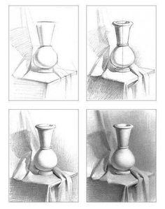5 einfachste Ideen: Kristallvasen Kobaltblaue Vasen zeichnen Aquarell.Konkret .....,  #Aquare... #vase #drawing #ideas Shading Drawing, Basic Drawing, Drawing Lessons, Drawing Techniques, Painting & Drawing, Watercolor Techniques, Painting Vases, Wall Drawing, Painting Flowers