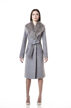 Long Coat with Fur Collar, Shale Grey