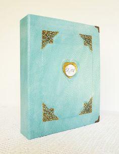 Personalized Leather Album Turquoise Gift for Womens by AnnaKisArt