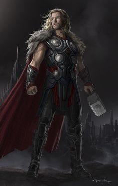 Previously unseen Thor: The Dark World concept art by Andy Park with a Stark - Winterfell, not Tony - twist Marvel Concept Art, Marvel Fan Art, Marvel Comics Art, Marvel Heroes, Marvel Avengers, Heros Comics, Thor Cosplay, Andy Park, Asgard