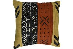 Handwoven, hand-stamped cotton mudcloth pillow with Polyfil insert.