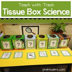 """One thing readers most request is inexpensive (or free) teaching materials. Here is the first """"Teach with Trash"""" idea, and I plan to have more to come. This is a science activity using empty tissue boxes. You can either save empty ones as they are used up at school, or ask parents to send them in. You only need six empty tissue boxes. The tissue boxes will be used to"""