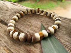White Howlite & Tigers Eye Mala Bead Style by cainersbliss on Etsy