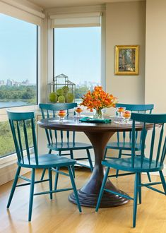 Table Cloth For Wood Dining Room Floor Blue Chairs Flowers Painting Window Glass Scenery