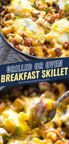 Make this recipe on the grill or in the oven! The entire family will love the perfect combination of that oozy egg running over those cheesy potatoes and crisp bacon. Whether you enjoy this hearty skillet meal as an easy breakfast or dinner, it is sure to be a hit! Healthy Breakfast Recipes, Brunch Recipes, Vegetarian Recipes, Recipes Dinner, Breakfast Ideas, Easy Homemade Recipes, Yummy Recipes, One Dish Dinners, Cheesy Potatoes