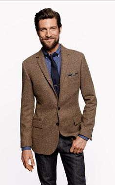 tweed blazer, chambray and navy tie