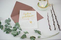 """Hochzeitspapeterie von zartmint design """"Herz aus Gold"""" by www.zartmint.de"""