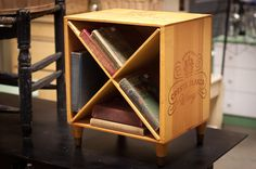 Wine Crate End Table - Wooden Nightstand Wine Box With Diagonal Shelves - Cresta…