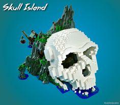 Skull Island, when is the soonest I can move in? Lego Village, Lego Sculptures, Lego Ship, Skull Island, Lego Castle, Pirate Skull, Lego Projects, Lego Technic, Treasure Island