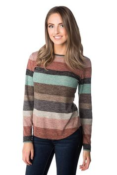 Striped Long Sleeve Sweater with Shirttail Hem