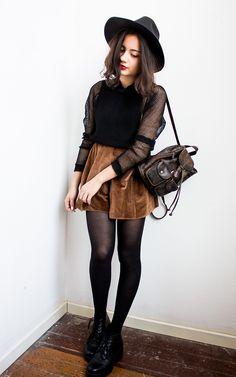 sheer black mesh 3/4 sleeve blouse + brown mini skater skirt + tights + hat + bag | fall autumn style