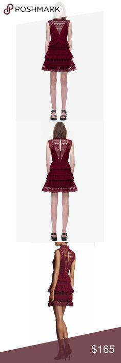 🎀SALE🎀 Burgundy lace mini dress Constructed from geometric and teardrop scalloping lace, this dress features a high neck and tiered skirt. The top is partially unlined, back keyhole with hook and eye closer. Boutique brand NOT self portrait but labeled for exposure only. Size S NWOT Self Portrait Dresses Mini