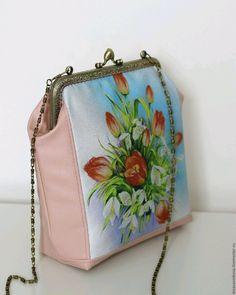 """Купить Сумка с фермуаром """"Подснежники и тюльпаны"""" - сумка, сумка на плечо, Сумка с фермуаром, сумочка с фермуаром"""