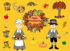 "This is a Zip file with ""21 Thanksgiving"" images.-pumpkins, acorn, oak leaf, maple leaf, bushel of leaves, bushel of apples, fall tree, gourd, red apple, green apple, corn, cornucopia, turkey, turkey platter with veggies, wreath, pilgrim girl (2), pilgrim boy and two Thanksgiving backgrounds."