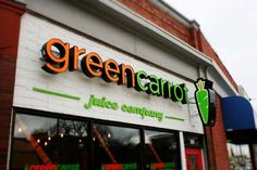 Green Carrot Juice Company: LED illuminated channel letters & logo.