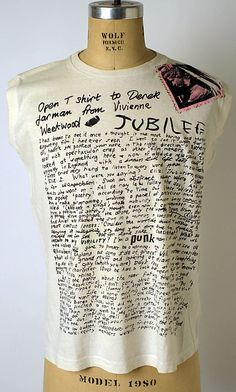 'Derek Jarman', Vivienne Westwood (designed by Malcolm McLaren, 1976) #seditionaries