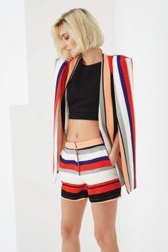 Multi Stripe Print Tailored Shorts
