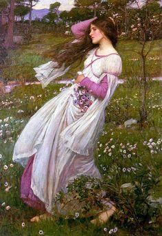 """Windflowers"" by John William Waterhouse pre-raphaelite art"