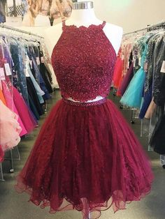 Custom Made Luscious Red Lace Homecoming Dresses Two Piece Cheap Short Lace Beaded Dark Red Homecoming Dresses 2018 Burgundy Homecoming Dresses, Cute Homecoming Dresses, Bridesmaid Dresses, Prom Gowns, Graduation Dresses, Quinceanera Dresses Short, Ball Gowns, Prom Dress Two Piece, 2 Piece Dress Short