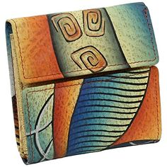 Craft Edle Damen Geldbörse Portemonnaie Geldbeutel mehrfarbig bunt Leder Art
